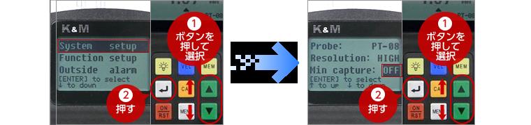 1「▲▼」キーで【System setup】を選択し、2「Enter」キーで確定する。 1「▲▼」キーで【Min capture】を選択し、2「Enter」キーでOFFにする。
