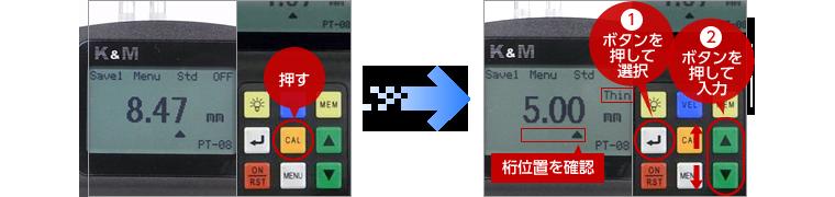 測定中に「CAL」キーを押す。 測定値とともに【Thin】と表示される。  トランスデューサーを試験片から離し、1「Enter」キーで桁を選択し2「▲▼」キーで薄い方の試験片の厚さを入力する。