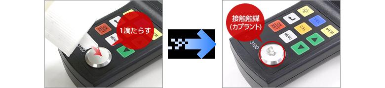 接触媒質(カプラント)を本体下部の零点調整用試験片に少量塗布する。